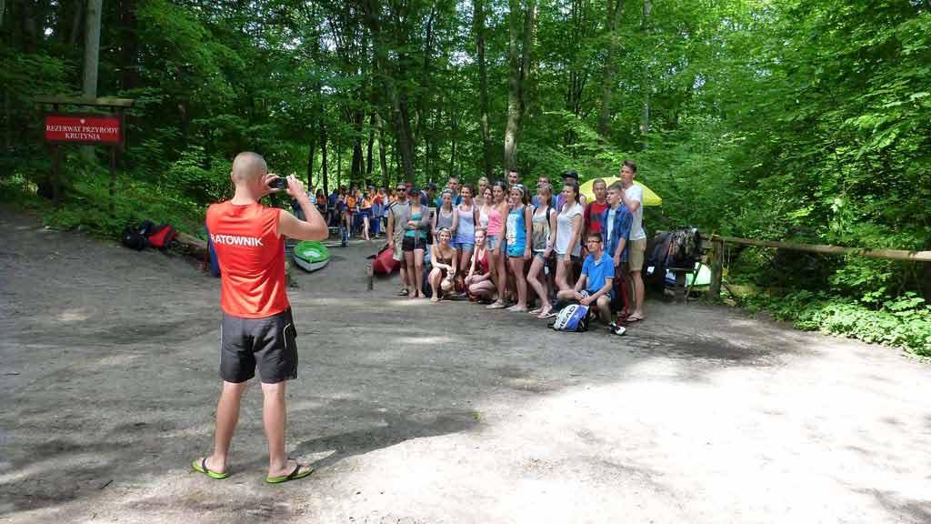 Turystyka Kajakowa Wodniak - splyw szkolny - zbiórka uczestników przed startem