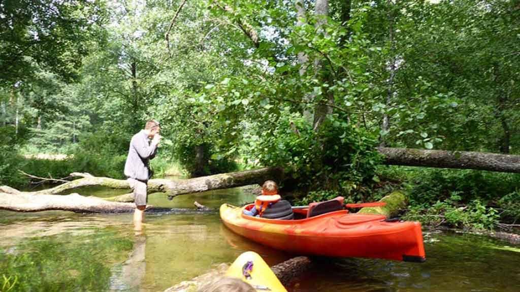 Spływ kajakowy rzeką Babant - pokonywanie przeszkody
