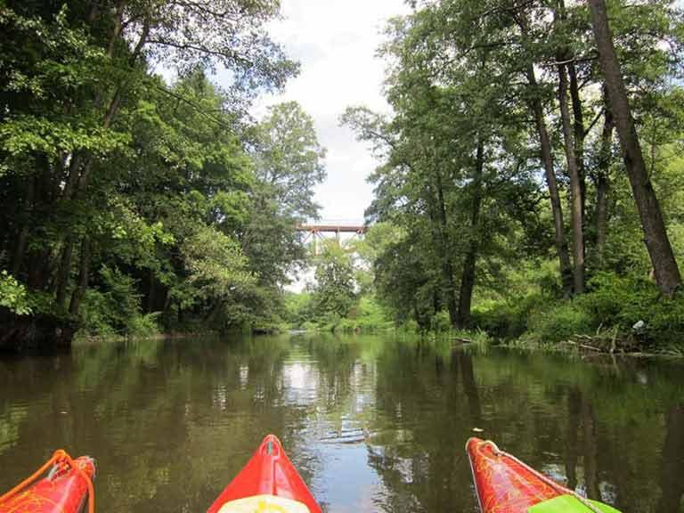 Spływ kajakowy na szlaku rzeki Łyny - dopływanie do mostu kolejowego