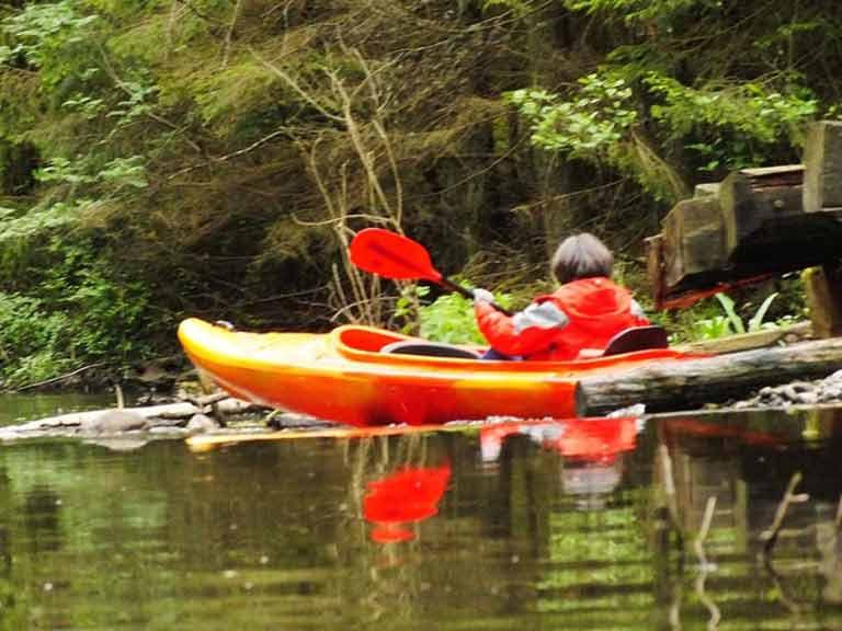 Spływ kajakowy na rzece Tejsówce - pokonywanie przeszkody