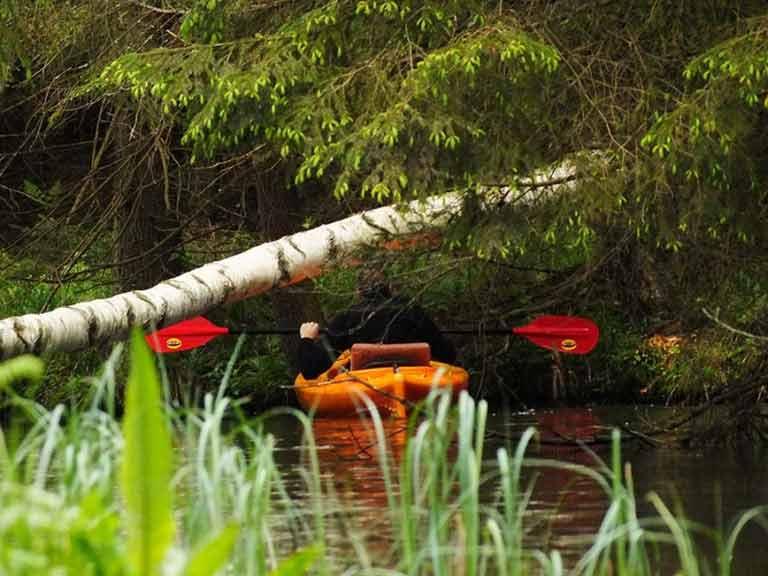 Spływ kajakowy rzeką Tejsowką - pokonywanie przeszkody