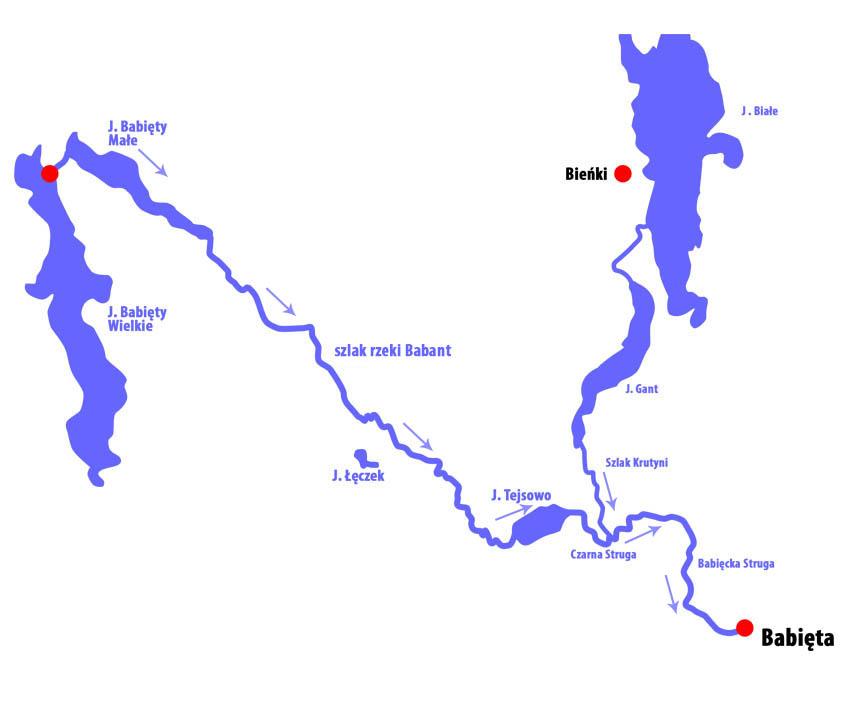 Mapa szlaku Babant