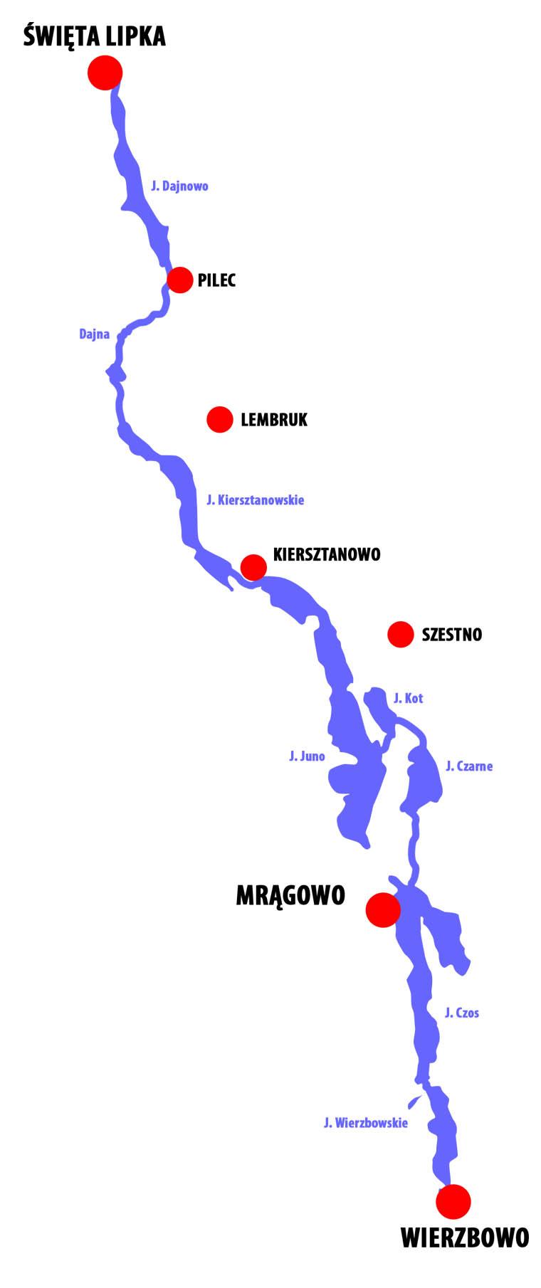 Mapa szlaku Dajna