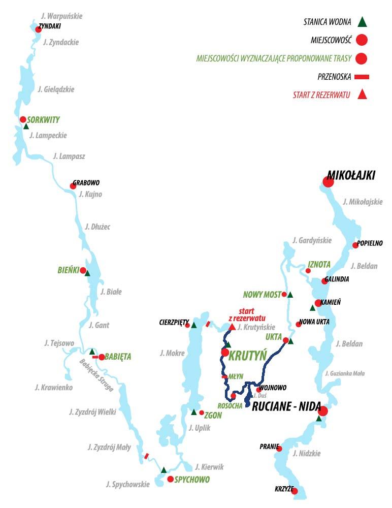 Spływ  Krutynią -  trasa Krutyń - Ukta