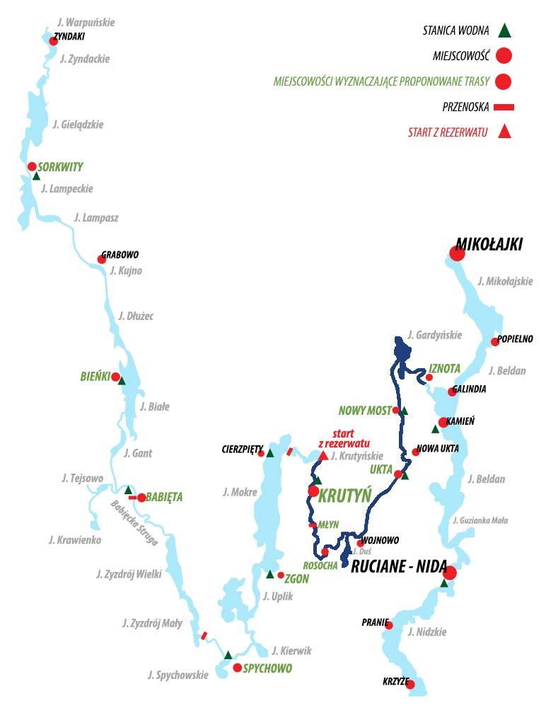 Spływ Krutynią - trasa  Krutyń - Iznota