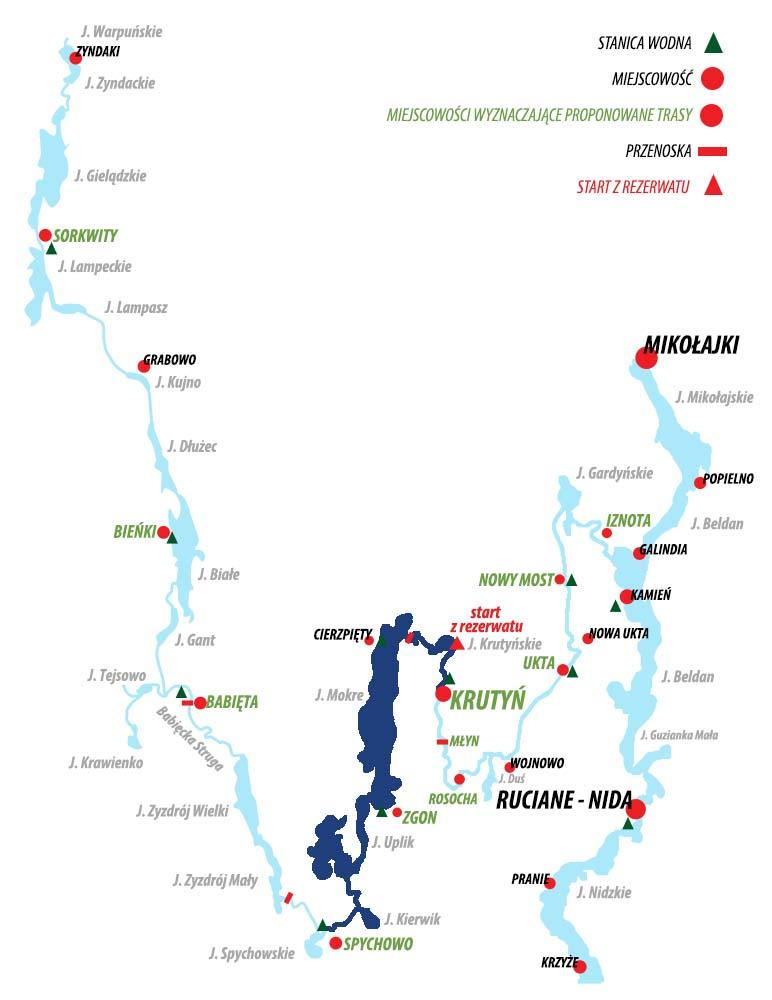 Spływ Krutynią - trasa Spychowo - Krutyń