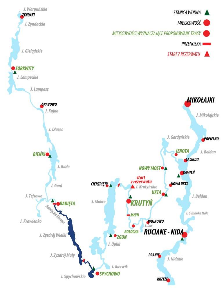 Spływ Krutynią - trasa Babięta - Spychowo