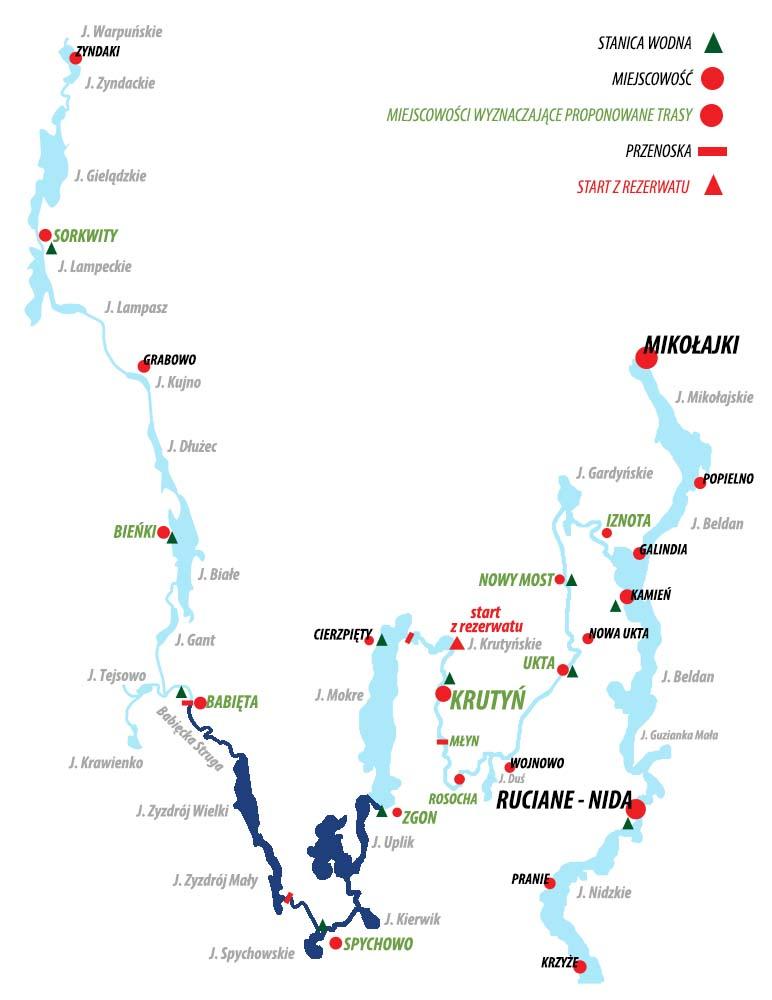Spływ Krutynią - trasa  Babięta - Zgon