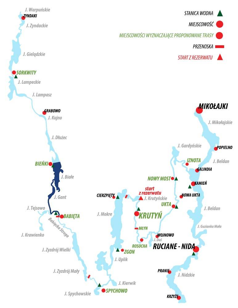 Spływ Krutynią - trasa Bieńki - Babięta
