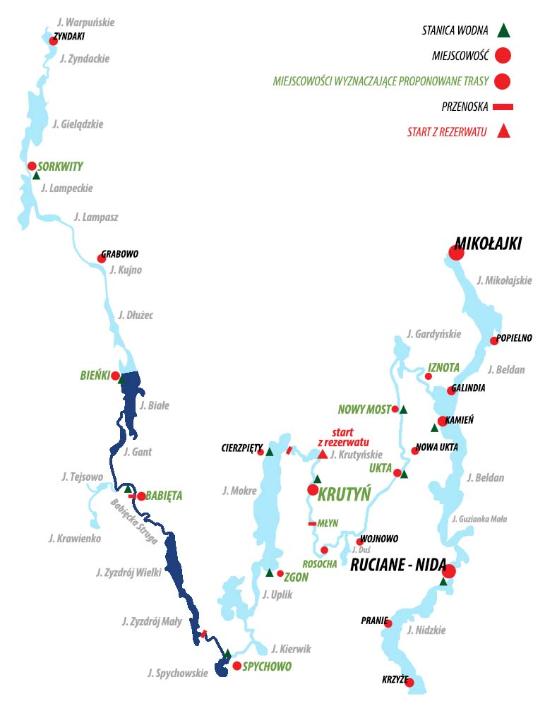 Spływ Krutynią - trasa Bieńki - Spychowo
