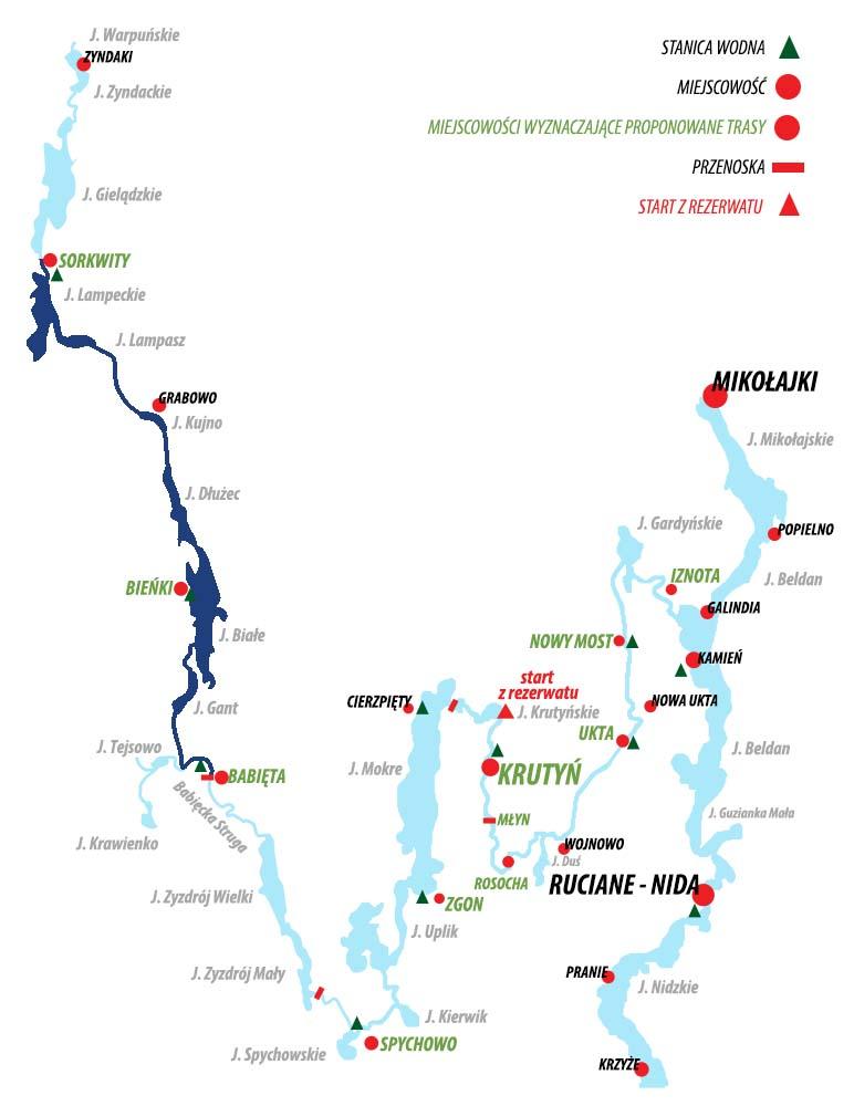 Spływ Krutynią - trasa Sorkwity - Babięta