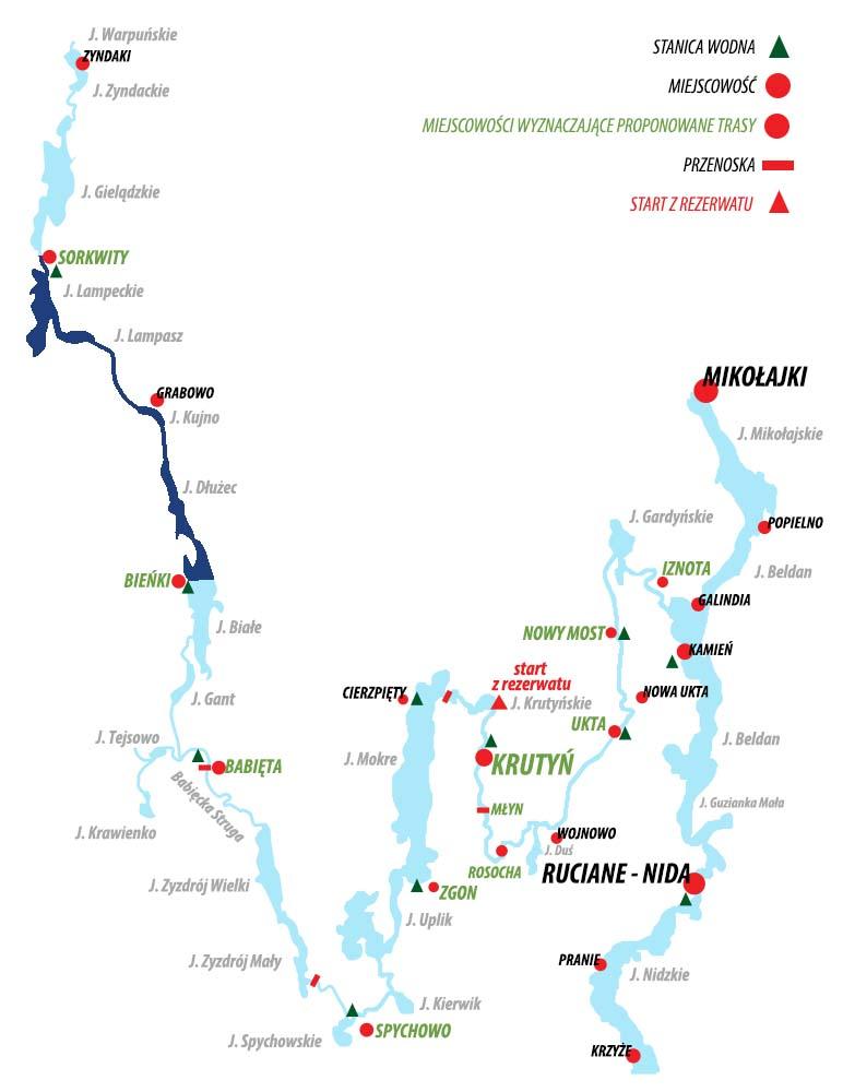 Spływ Krutynią - trasa Sorkwity - Bieńki (Dłużec)