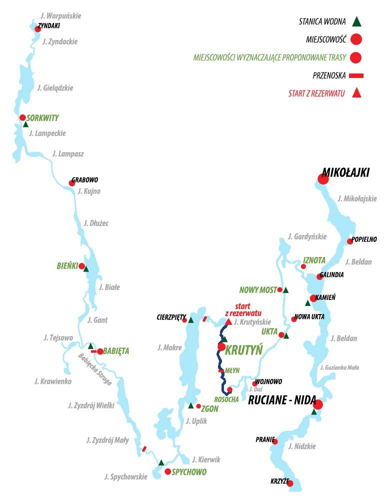 Spływ Krutynią - trasa Krutyń - Rosocha