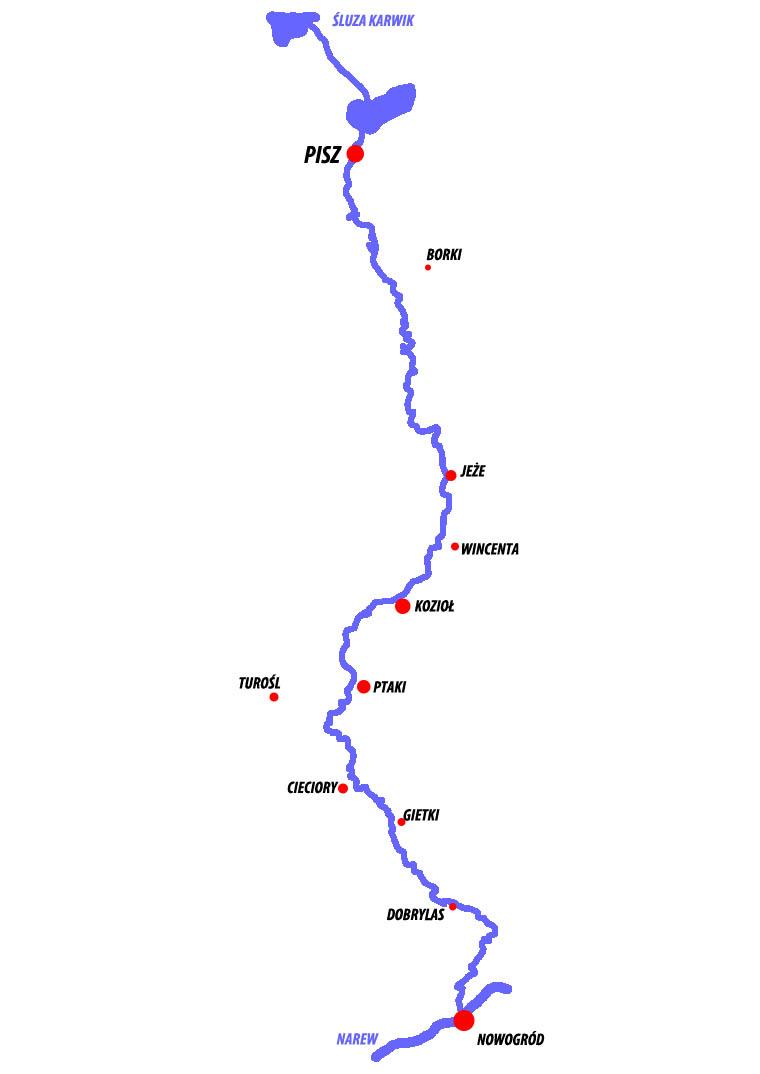 Mapa szlaku Pisa