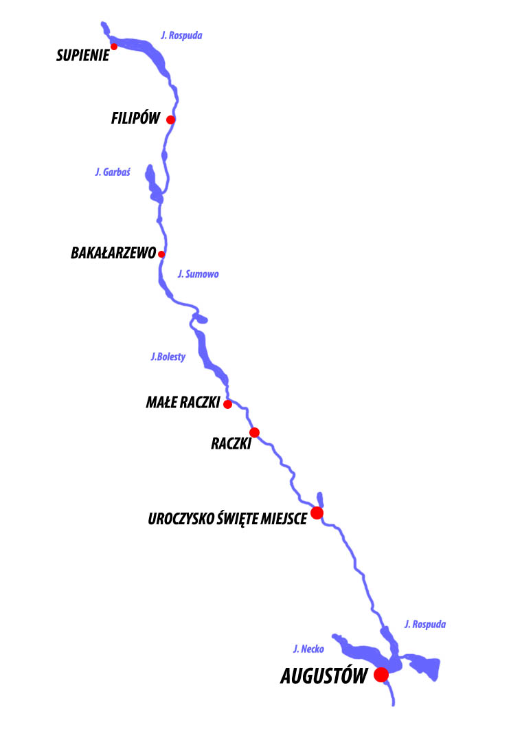 Mapa Szlaku kajakowego Rospuda